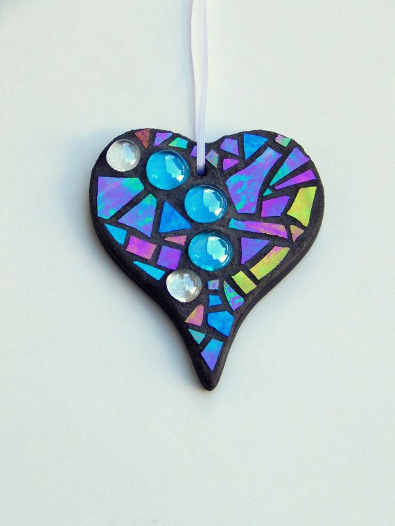 mosaic everyday ornament heart iridescent glass glass nuggets handmade stained mosaic designsmosaic ideasornaments - Mosaic Design Ideas