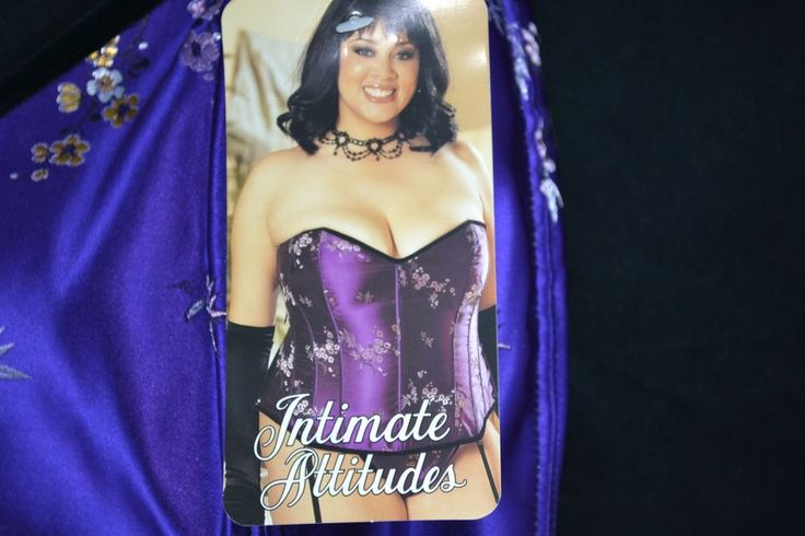 Intimate Attitudes Lace Up Corset Purple Asian Tapestry with Thong Plus Size 48W
