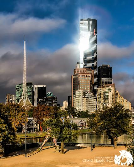 Compliments of Craig Francisco - Google+  This is the tallest building on the Melbourne Skyline, The Eureka Tower. Click through to the original post to see more of Craig's fantastic photography. For more information on the Tower see http://en.wikipedia.org/wiki/Eureka_Tower