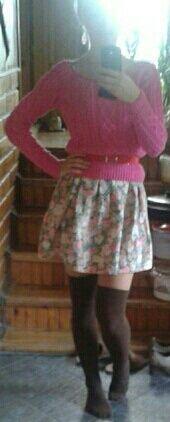 Floral dress/ high knee socks<3 Angel-a