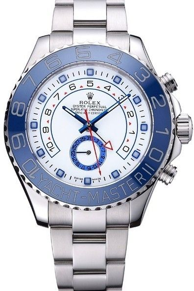 Buy Replica Rolex Yacht Master II Blue Ceramic Top Stainless Steel Bezel With Hour Markers White Dial Watch With Brushed And Polished Stainless Steel Bracelet