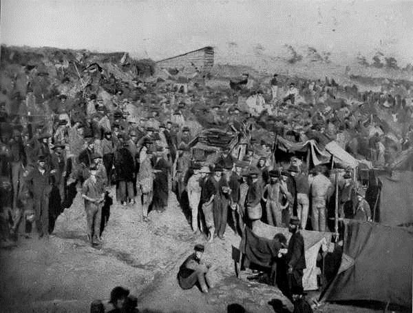 "The Confederate POW camp at Andersonville in Georgia - ""War is not the fine adventure it is represented to be by novelists and historians, but a dirty bloody mess, unworthy of people who claim to be civilized"" (Private Gibbs, 18th Mississippi infantry ; Quoted in A people's history of the civil war)"