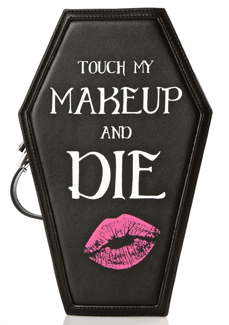 Current Mood Coffin Cosmetic Case cuz you'd die fer beauty, bb~ This drop-dead gorgeous makeup case features an ultra roomy coffin-shaped base constructed from smooth vegan leather, patterned Current Mood lining, elastic brush straps along the interior, carrying handle, wraparound zip closures, and text across the front reading 'Touch My Makeup and DIE.' Kissy face~