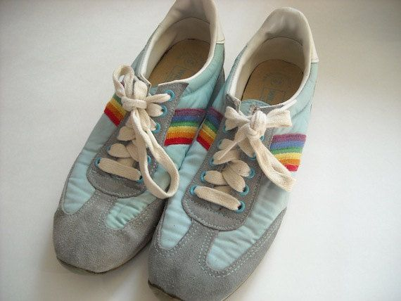 Vintage Rainbow Sneakers 9 by Baxtervintage on Etsy, $43.00