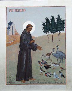 Pyhä Franciskus saarnaa linnuille