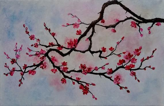 Check Out This Item In My Etsy Shop Https Www Etsy Com Listing 758855444 Sakura Painting Cherry Tree Bloss Tree Painting Blossoms Art Cherry Blossom Painting