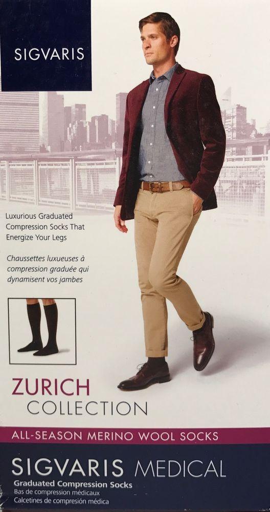 SIGVARIS 242C MENS All Season MERINO Wool Knee-Hi Compression Socks 20-30mmHg | eBay