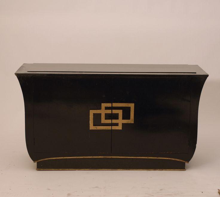 Antique Hollywood Regency Style Gilt Black Ebonized Sideboard - Harrington Galleries