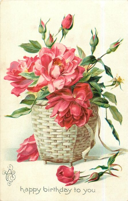 Roses & buds in wicker basket ~ Happy Birthday postcard 1908