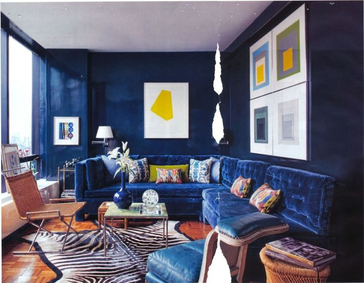 Superior Living Room:Dark Navy Blue Living Room Design Ideas Feat L Shape Blue Sofa  Also Blue Painted Wall Plus Glass Coffee Table On Zebra Area Rug Cool Blue  Living ... Part 30