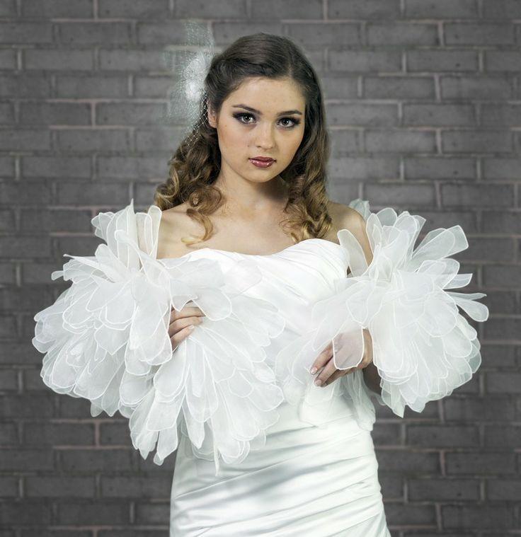 etole de mariage effet plumes blanc ivoire ou noir httpwww - Bolero Plume Mariage