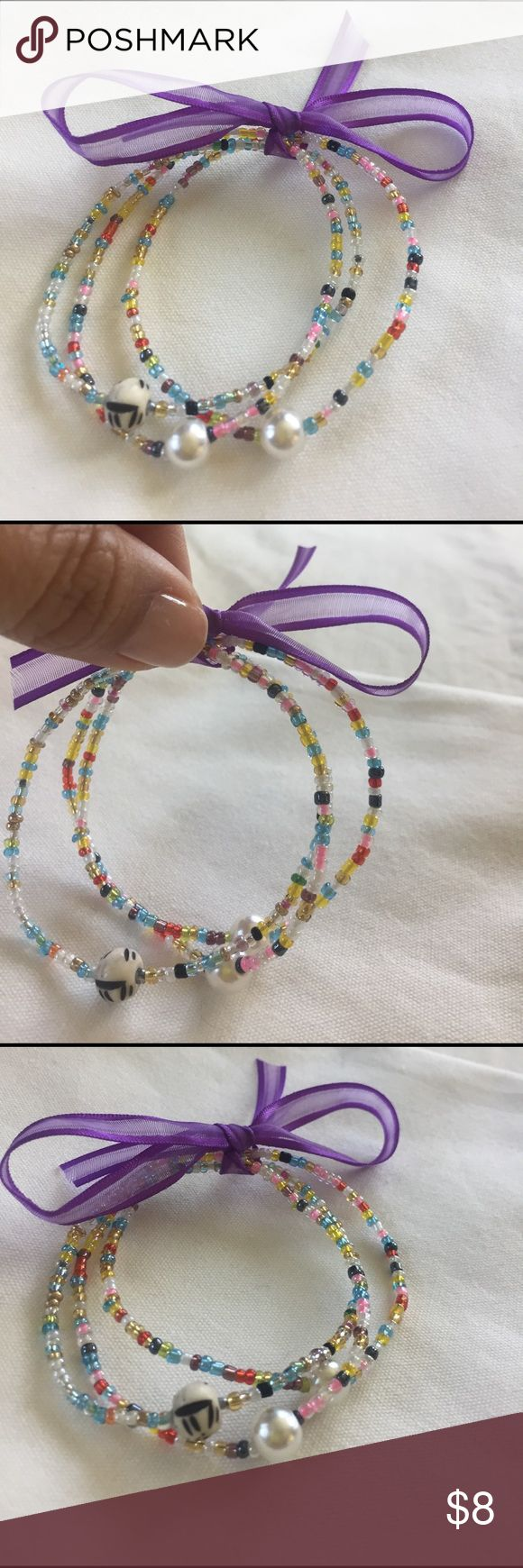 Color Me!!! Wrist Bead Bracelet Three assorted colorful beaded bracelet. Tight elastic stretch. Length is 6 - 6 1/2 inch and roll on to wrist. Saw in-store price at $15.  Bracelets are handmade by my daughter, she is fund-raising for her Merrie Monarch Hula Competition Accessories