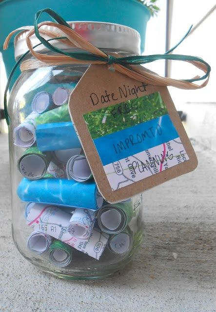 Date Night Jar- This date night jar doesn't just include a lot of different date night ideas, but it's also color-coded so he knows exactly what kind of date he's choosing. This helps ensure your gift is a success. #diy #anniversary Original source- http://beyondcookiecutter.blogspot.com/2013/05/newlywed-date-jar-gift.html?m=1