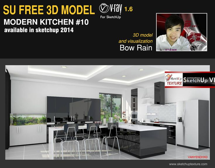 Free Sketchup 3d Model Vray Setting Modern Kitchen 10 Courtesy By Bow Rain Http Www