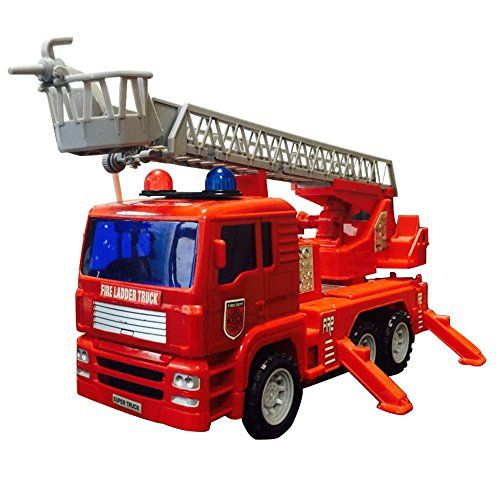 iPuzzle Firefighter Truck Toy Rescue Engine Fire Truck with Adjustable Ladder Water Pump Shooting Squirting Water Movable Parts -- See this great product.