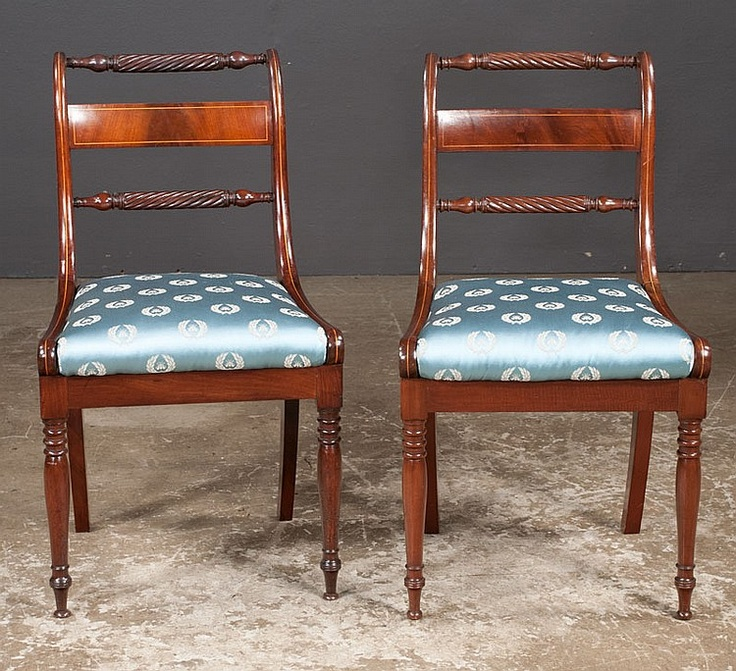 American Federal Side Chairs Upholstered In Scalamandre Fabric With String  Satinwood Inlay, C.1810