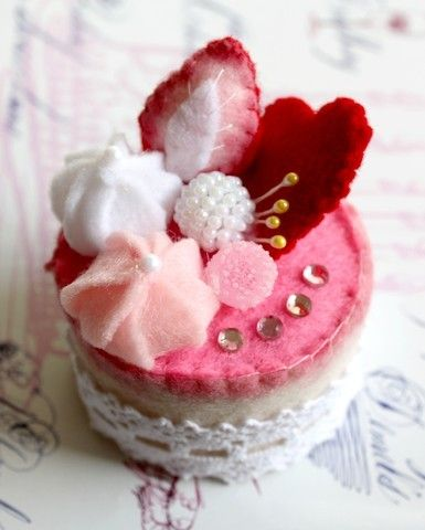 SALE Felt Cake Handmade Heart Collection Tea Party