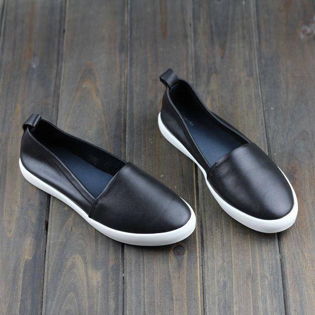 Chaussures Femme Appartements En Cuir Véritable bout Rond Glissement sur Mocassins Dames Plat Chaussures Dérapage preuve Printemps/Automne Chaussures (A008)