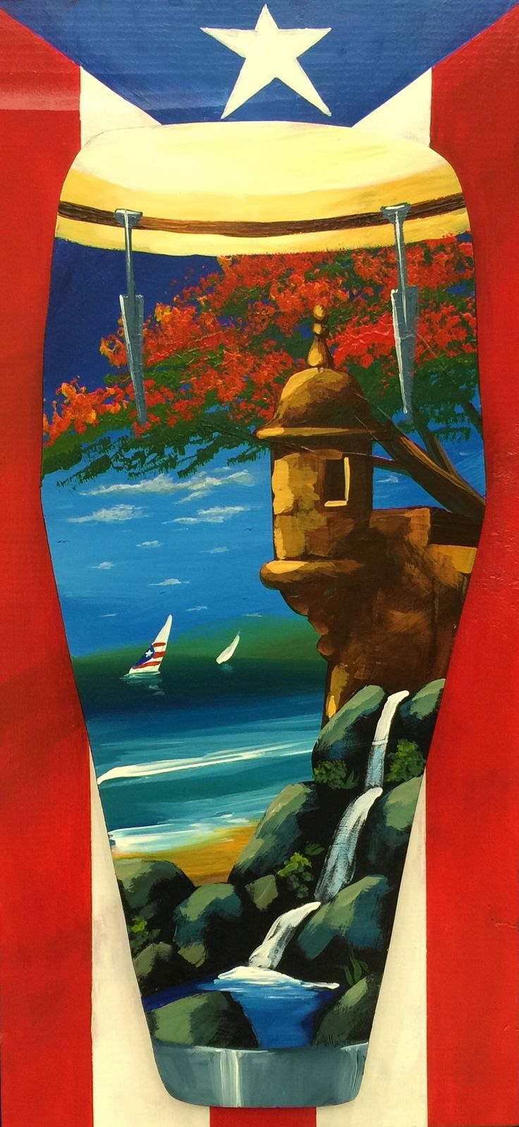 Artesanía de Puerto Rico, garita y flamboyán al óleo sobre conga y bandera puertorriqueña en madera.