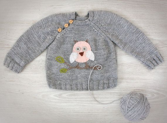 Hand Knit Baby Sweater Grey Merino Wool Knit baby clothes with Felt Owl Applique