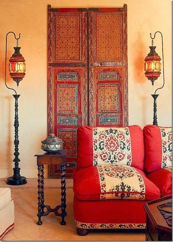 Orange Bohemian Living Room