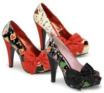 """Pinup Couture"" - 4 1/2"" Heel Open Toe Platform Pump w/Satin Bow - each pair  $84.99: Wsatin Bows, Open Toe, Pumps W Satin, Platform Pumps, Pumps Wsatin, Pinup Couture, Heels Open, When Platform, W Satin Bows"