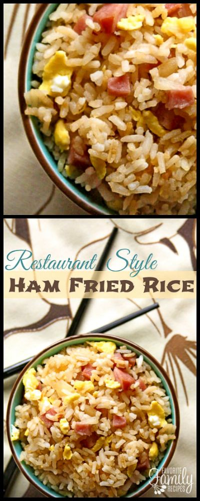 Our Restaurant Ham Fried Rice recipe tastes just like the fried rice at your favorite local Chinese restaurant. Chicken or shrimp can also be used. via @favfamilyrecipz