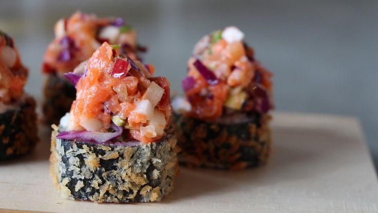 Une recette d'hosomaki tartare de truite, saumon fumé et cidre présentée par Zeste et zeste.tv.