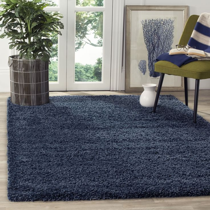 Safavieh California Cozy Plush Navy Shag Rug (8u00276 X 12u0027) (