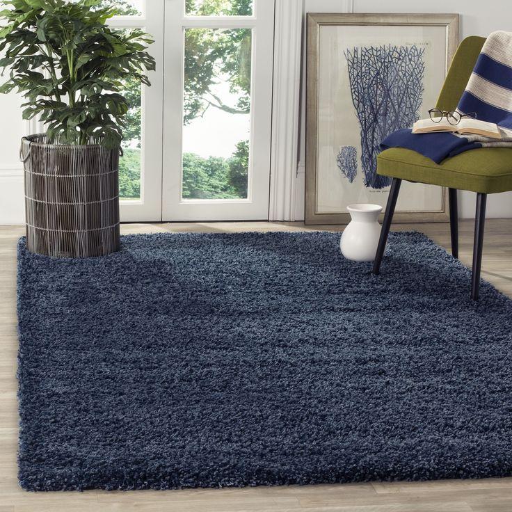 Safavieh California Cozy Solid Navy Shag Rug (6'7 Square) , Blue, Size 7'