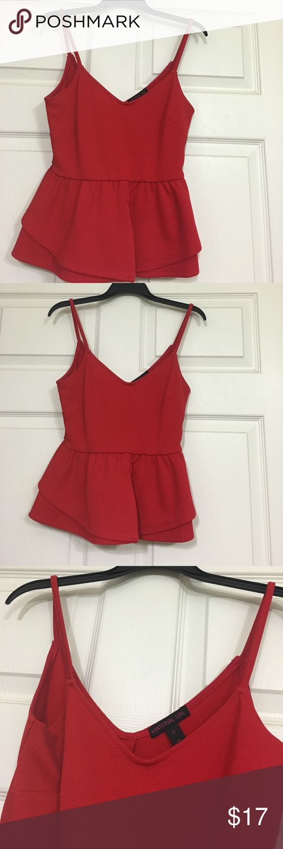 Red peplum top Red Material girl red peplum top! Adorable top! Only worn one time! Size small. Material Girl Tops Tank Tops
