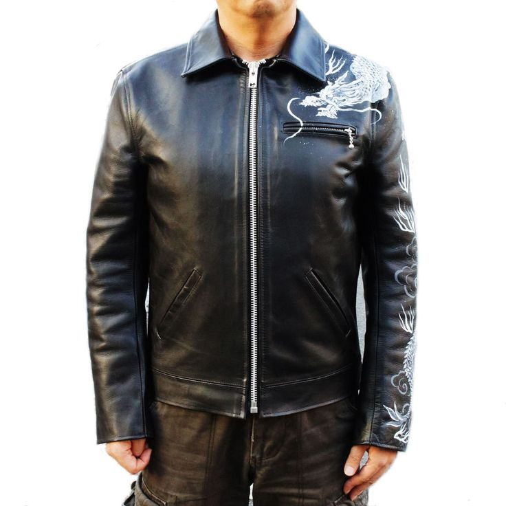 JAPANESE DRAGON HANDPAINTED SOFT COW HIDE LEATHER BIKER JACKET #KYODEN