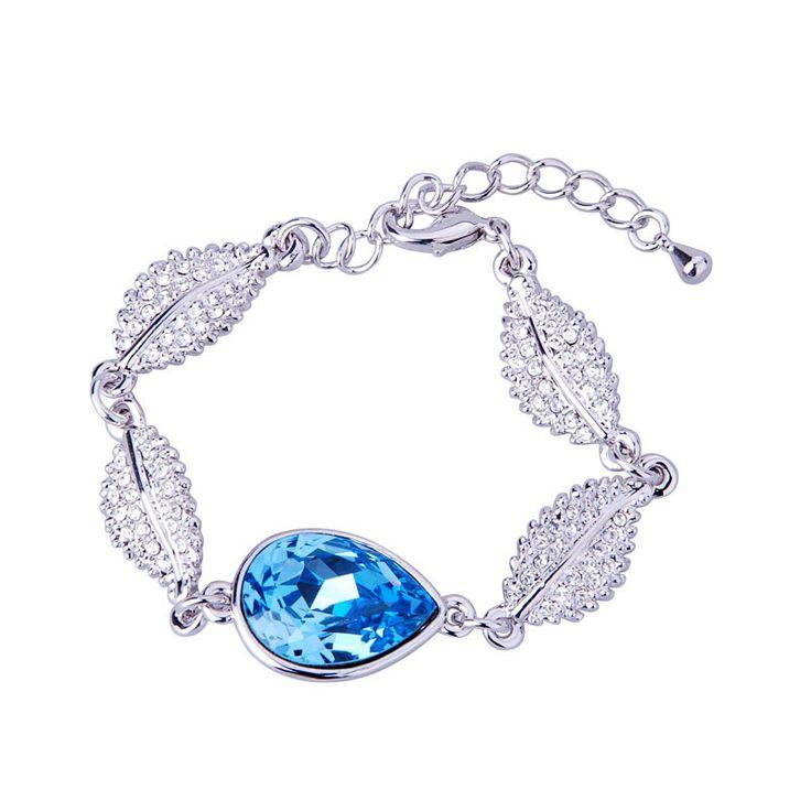 Crystal Leaf Linked Bracelet