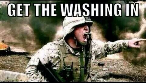 My mum when she isn't home and it starts raining, my phone goes off and this is what she says.