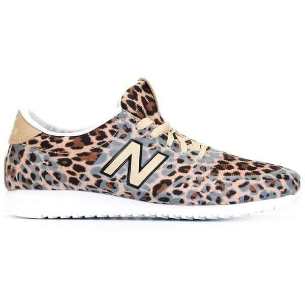 New Balance Leopard Print Trainers ($98) ❤ liked on Polyvore featuring shoes, sneakers, beige shoes, new balance trainers, leopard print sneakers, black shoes and leopard sneakers