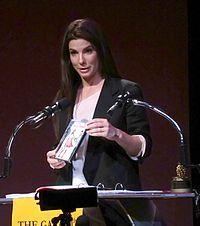 "Bullock at the 2010 Golden Raspberry Awards accepting her Razzie for ""Worst Actress"" for All About Steve"