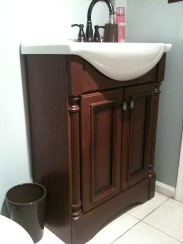 Great Glacier Bay Valencia 25 In. Vanity In Glazed Hazelnut With Porcelain Vanity  Top In White And Wall Mirror VA25EUP3COM HG At The Home Depot   Pinterest  ...