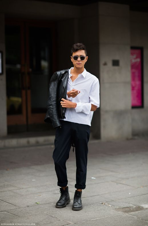 GARCON MENS STYLE FASHION BLOG STREET STYLE CRISP WHITE SHIRT ACETATE TRANSPARENT CLEAR SUNGLASSES LEATHER MOTO JACKET ROLLED UP CROPPED PANTS TROUSERS DOC MARTIN LACE UP ANKLE BOOTS STOCKHOLM STREETSTYLE HAIR PIERCINGS JONAS FORSBERG