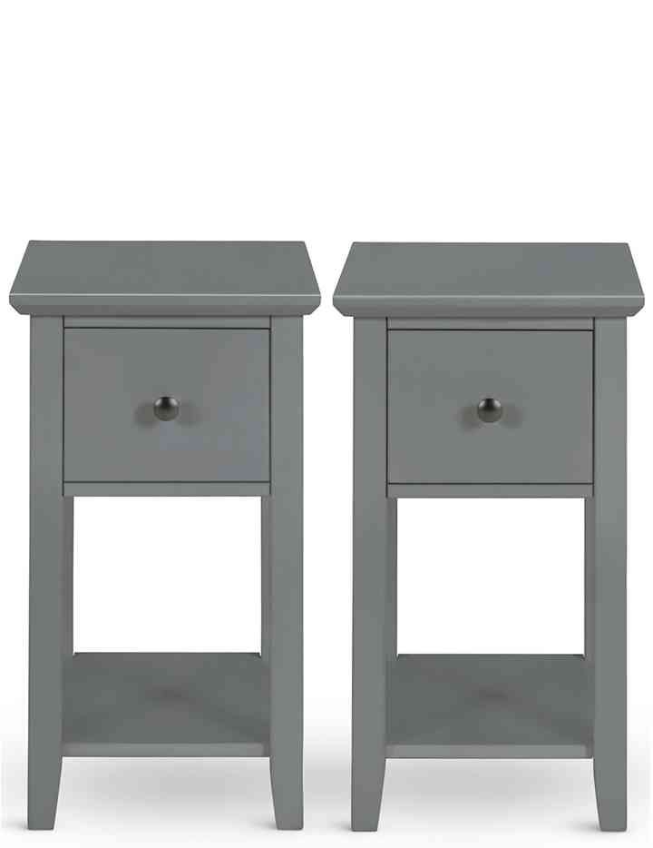 Grey Bedside Tables: Set Of 2 Hastings Dark Grey Compact Bedside Tables