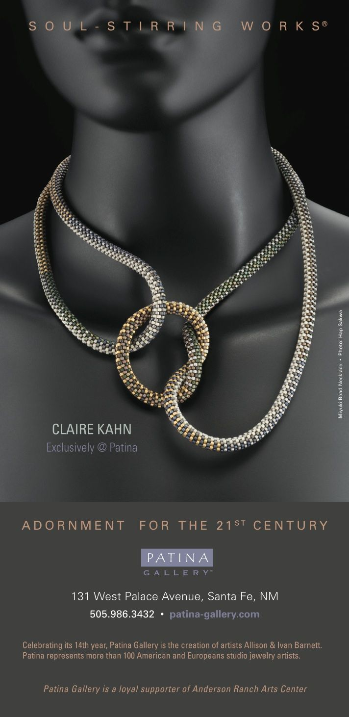 Claire Kahn Ad for Patina Gallery....miyuki seed beads, bead crochet....wow!  look at the prices of her stuff!!!!!