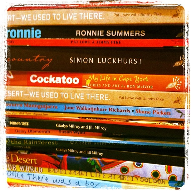 A big stack of our colourful and unique books! You won't find books like this anywhere else in the world!
