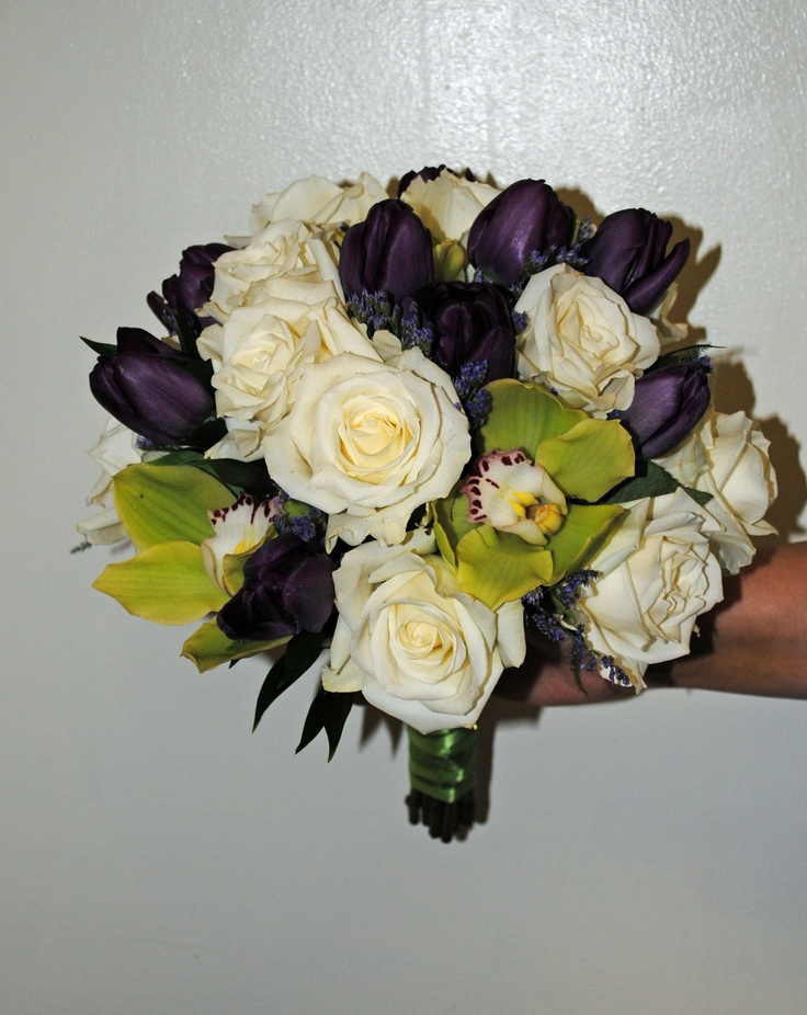 Bridal Bouquet White Roses Dark Purple Tulips And Orchids