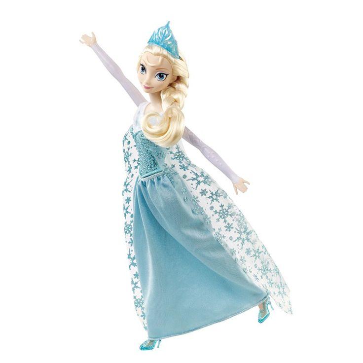 Agora você pode cantar junto com a Elsa do filme Frozen! Ao apertar o floco de neve em seu peito, ela começa cantar sua famosa música Let it Go, para que as meninas cantem e dancem junto. Conforme ela canta, reviva o momento no qual ela sai do reino Arendelle, procurando um lugar onde não precisará esconder seus poderes mágicos. Uma vez que ela descobre a Montanha do Norte, ela cria seu próprio castelo, vestido e Olaf, o boneco de neve, feito de neve e gelo.