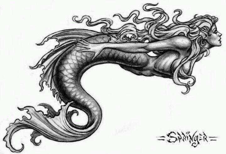 Horizontal Line Tattoo: Horizontal Mermaid Tattoo- I Would Change The Body And Fin