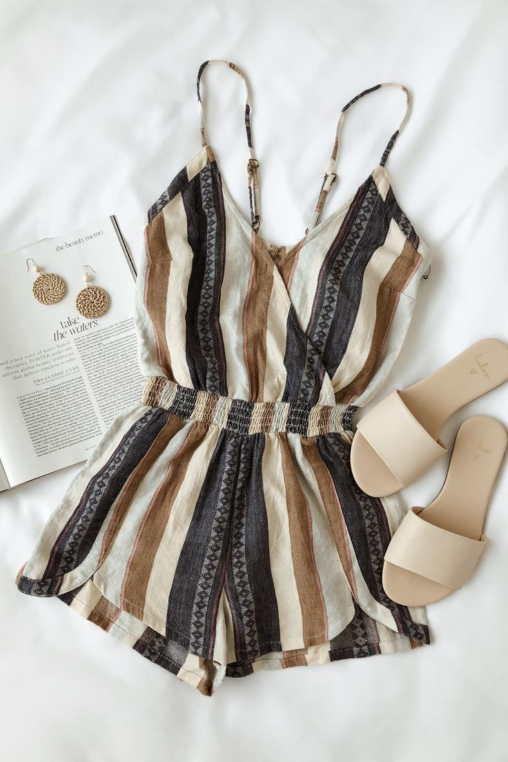 Brenda Navy Blue Striped Romper