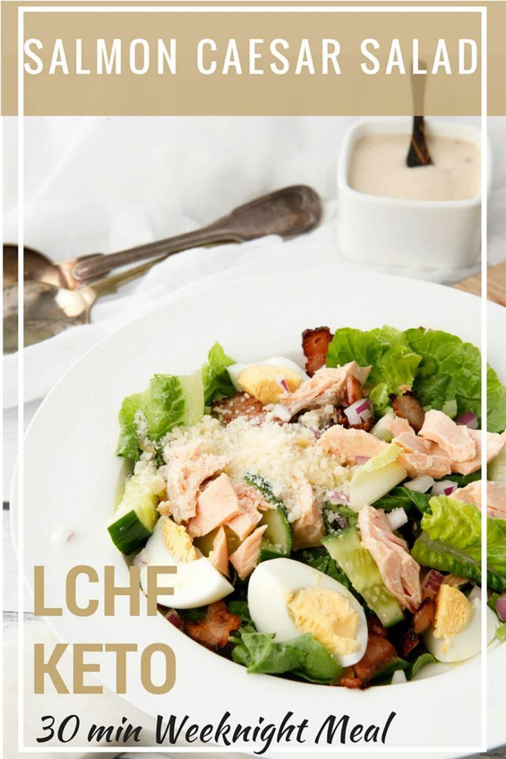 Salmon Caesar Salad - 30min Decadent Weeknight Meal  - You will never order Caesar Salad at a cafe after making this super delicious, Salmon Caesar Salad. The flavours workperfectly for a healthy LCHF Keto meal. #Thermomix #caesarsalad #salmon via @thermokitchen