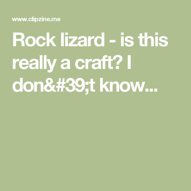Rock lizard - is this really a craft? I don't know...