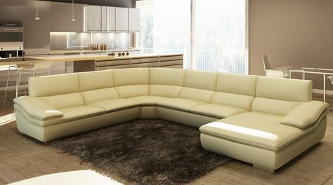 Divani Casa 782C Modern Beige Italian Leather Sectional Sofa - Stylish Design Furniture