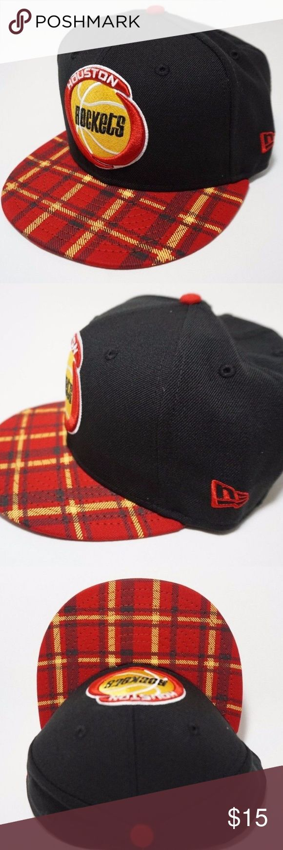 Houston Rockets NBA New Era Snapback Cap 9FIFTY New With Stickers Houston Rockets New Era 9FIFTY NBA HWC Team Plaid Snapback Cap 100% Authentic guaranteed.  Material: Made of 70% Wool, Woven, 30% Polyester, Woven Snapback, Adjustable  Crown: High Closure: Snap Fit: Structured  All items are kept in smoke-free & pet-free facility. New Era Accessories Hats