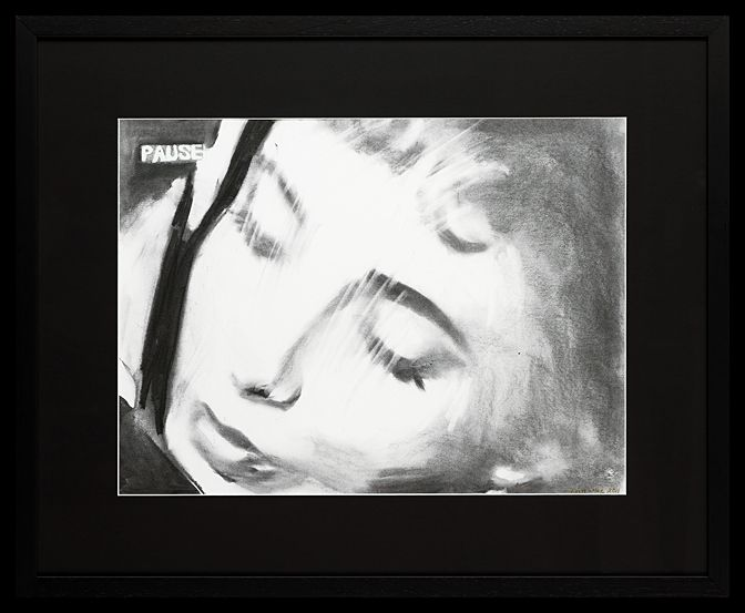Liz Taylor IV | Charcoal on Paper  64 x 79 cm (framed) | The second of four drawings of Liz Taylor, each a frame apart. Trish has captured Taylor's beautiful vulnerability in these images. The works are available and can be purchased as a set or individually.